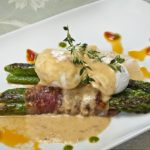 Poached Eggs and Bacon-Wrapped Asparagus at The Vine