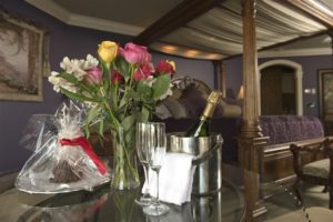 Greek Room romance package champagne and roses