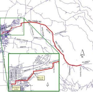 kooskooskie ride map - from pioneer park, along mill creek bridge and down mill creek road to Camp Kiwanis