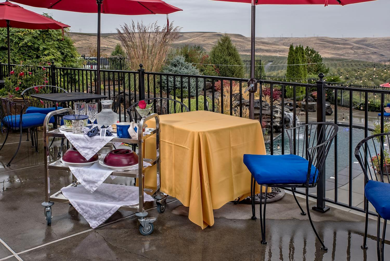limited cart service dinner package outdoors at The Vine